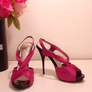 Joey satin and patent heels